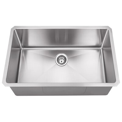 32 x 19 Single Bowl 16 Gauge Stainless Steel Kitchen Sink
