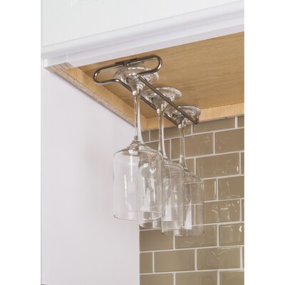 Under Cabinet Hanging Wine Glass Rack Color: Satin Nickel