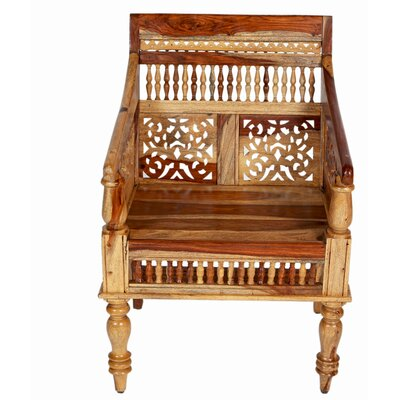 Taos Maharaja Hand-carved Solid Sustainable Sheesham Armchair