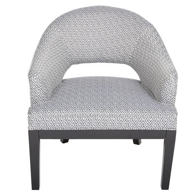 Draper Woven Greek Key Open Back Barrel Chair