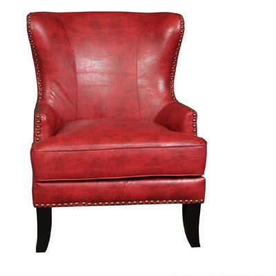 Grant Wingback Chair Upholstery: Cherry Red