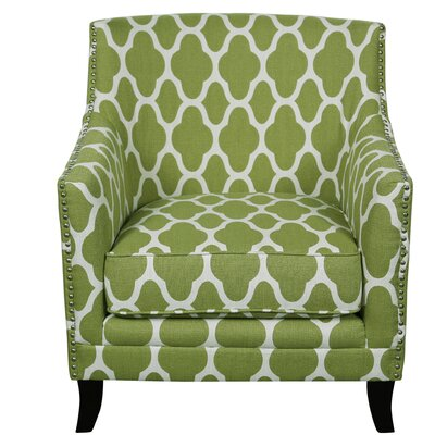 Cassie and Arabesque Armchair Upholstery: Apple Green and White