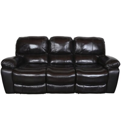 Gracehill Modern Leather Reclining Sofa Upholstery: Black Cherry