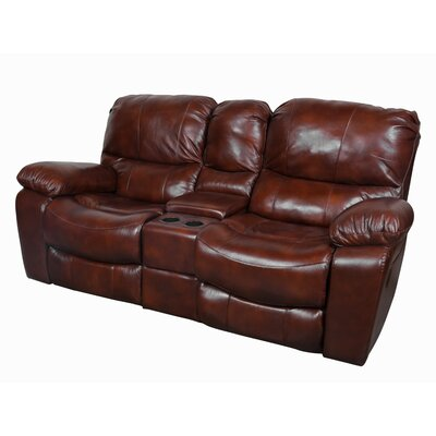 Gracehill Leather Reclining Loveseat Upholstery: Cognac Brown