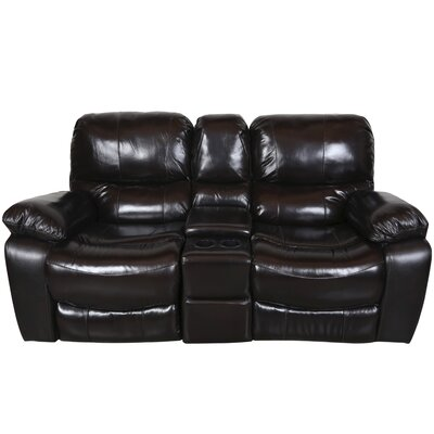 Gracehill Leather Reclining Loveseat Upholstery: Black Cherry