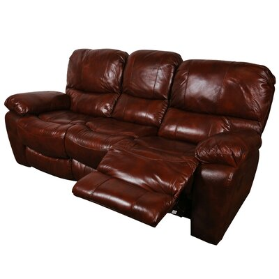 Gracehill Leather Reclining Sofa Upholstery: Cognac Brown