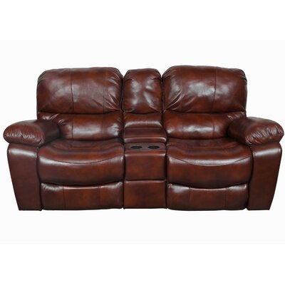Gracehill Wood Leg Leather Reclining Loveseat Upholstery: Cognac Brown