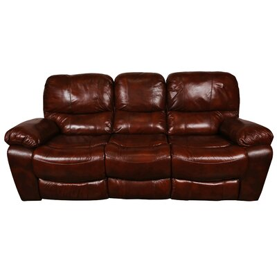 Gracehill Modern Leather Reclining Sofa Upholstery: Cognac Brown