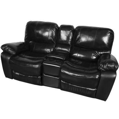 Gracehill Wood Leg Leather Reclining Loveseat Upholstery: Black Cherry