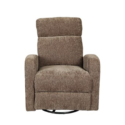 Glenn Chenille Wireless Power Swivel Rocking Recliner Upholstery: Brown