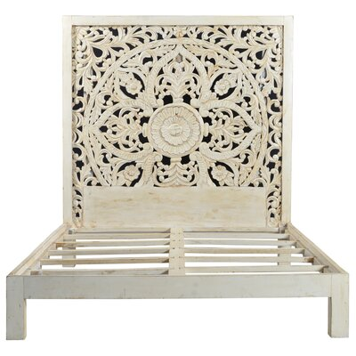 Bali Hand Carved Floral Medallion Painted Mango Queen Panel Bed Finish: White