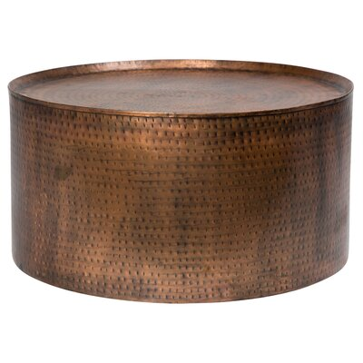 Bastow Hammered Coffee Table Color: Antique Copper, Size: 19 H x 36 W x 36 D