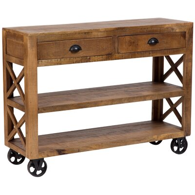 Barn Door Wooden Trolley Console Table