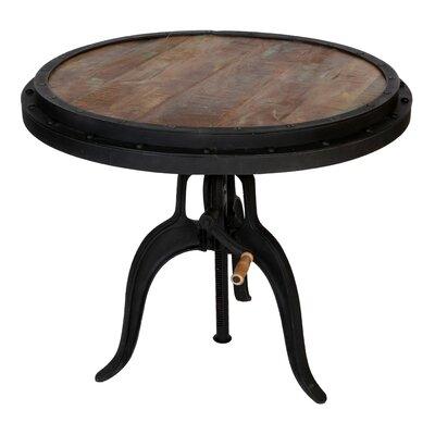 Reclaimed Wood Crank Industrial Adjustable Pub Table
