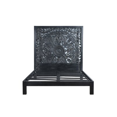 Bali Hand Carved Floral Medallion Painted Mango Queen Panel Bed Color: Black