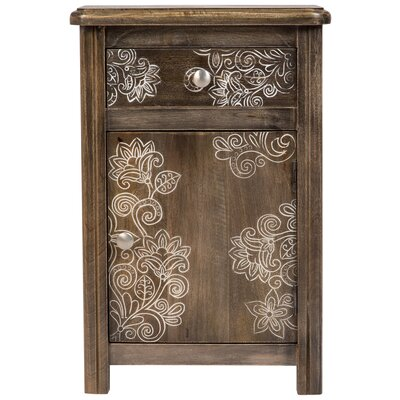 Rupert Flora Etched Solid Wood1 Drawer Nightstand