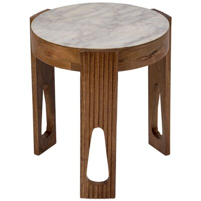 Briela Deco Marble and Wood End Table