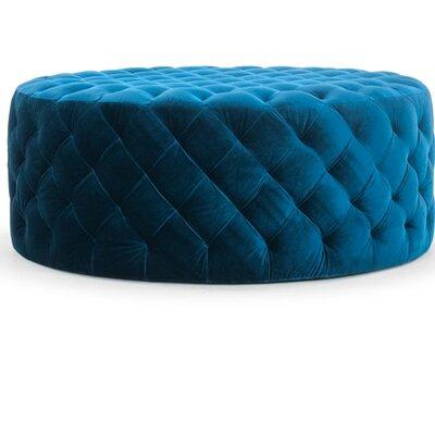 Annie Round Ottoman Upholstery: Blue Petrol Velvet