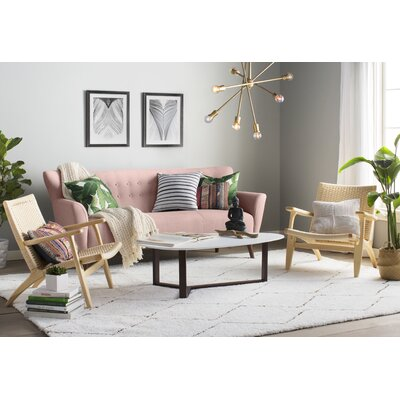 Gabrielle Mid-Century Modern Sofa Upholstery: Soft Rose