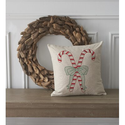 Holiday Conversational Candy Cane Cotton Throw Pillow
