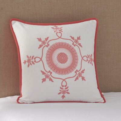 Coral Canvas Circle Medallion Cotton Throw Pillow