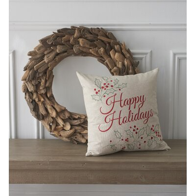 Holiday Conversational Happy Holidays Cotton Throw Pillow