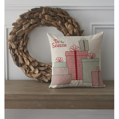 Holiday Whimsical Tis the Season Cotton Throw Pillow