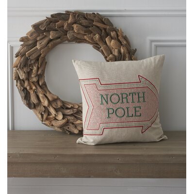 Holiday Whimsical North Pole Cotton Throw Pillow