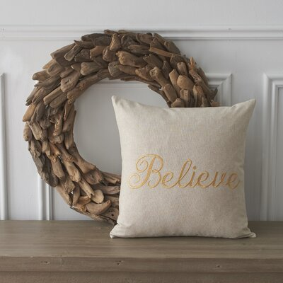 Holiday Words Believe Cotton Throw Pillow