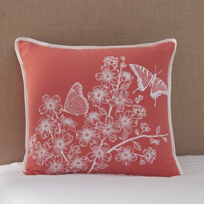 Coral Canvas Butterflies Cotton Lumbar Pillow