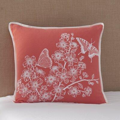 Coral Canvas Butterflies Cotton Lumbar Pillow