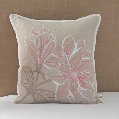 Coral Canvas Magnolia Cotton Throw Pillow