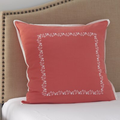 Coral Canvas Embroidered Euro Sham