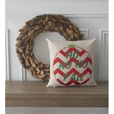 Holiday Conversational Ho Ho Ho Y'all Cotton Throw Pillow