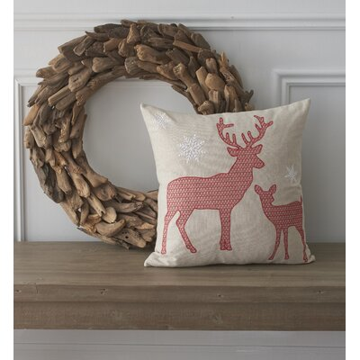 Holiday Whimsical Reindeer Cotton Throw Pillow