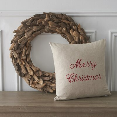Holiday Words Merry Christmas Cotton Throw Pillow