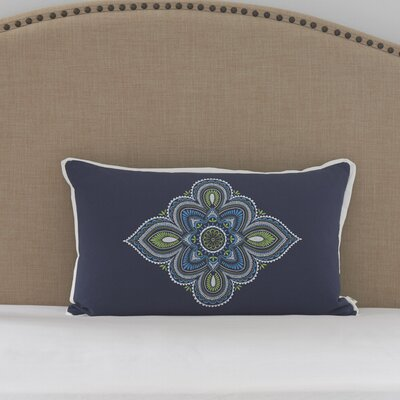 Santa Monica Embroidered Medallion Cotton Lumbar Pillow