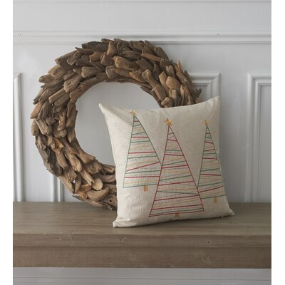 Holiday Conversational Trees Cotton Throw Pillow