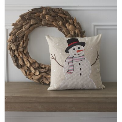 Holiday Whimsical Snowman Cotton Throw Pillow