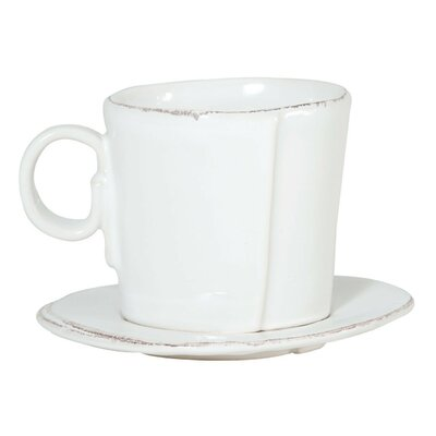 VIETRI Lastra 2 Piece Espresso Cup and Saucer Set LAS-2609W