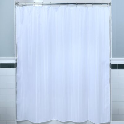 Satin Stripe Fabric Shower Curtain Color: White