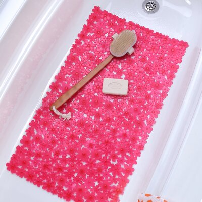 Field of Flowers Bath Mat Color: Pink