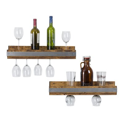 Shallow 5 Bottle Wall Mounted Wine Glass Rack