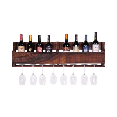 8 Bottle Wall Mounted Wine Rack Finish: Dark Walnut