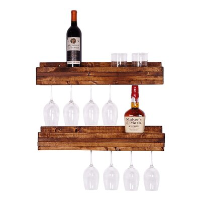 Tristen 5 Bottle Wall Mounted Wine Glass Rack Finish: Walnut