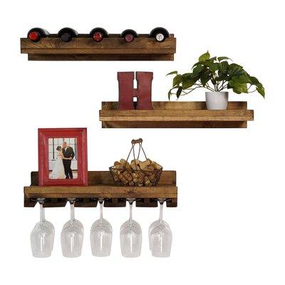 Dunlap 3 Piece 5 Bottle Wall Mounted Wine Rack Set