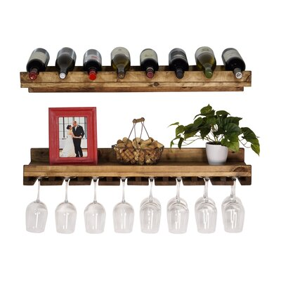 Wenonah 2 Piece 8 Bottle Wall Mounted Wine Rack Set