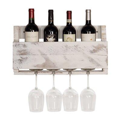 Kupunkamint 4 Bottle Wall Mounted Wine Bottle Rack Finish: White