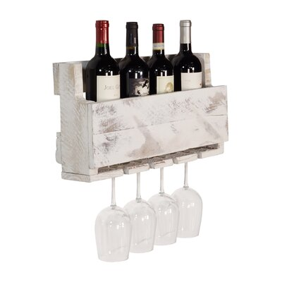 Kupunkamint 4 Bottle Wall Mounted Wine Bottle Rack Finish: White