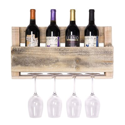 Kupunkamint 4 Bottle Wall Mounted Wine Bottle Rack Finish: Natural